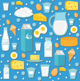 Dairy product seamless pattern. Flat style. Milk products background.  and Cheese texture. Farm Foods endless backdrop Royalty Free Stock Photos