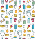 Dairy product seamless pattern. Modern, line, outline style. Milk products background.  and Cheese texture. Farm Foods Stock Photography