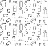 Dairy product seamless pattern. Modern, line, outline style. Milk products background.  and Cheese texture. Farm Foods Royalty Free Stock Photography