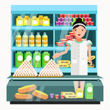 Dairy product seller at the counter and stall. Stock Image
