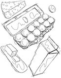 Dairy Product Sketches Stock Photos