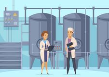 Dairy Production Cartoon Composition. With factory workers on background of tanks for milk pasteurization vector illustration Royalty Free Stock Photo