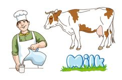 Dairy production. Hand drawn illustrations. vector Royalty Free Stock Image