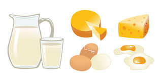 Dairy Products. Vector illustration showing dairy products Royalty Free Illustration