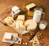 Dairy products. Various dairy products on a table Stock Image
