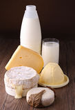 Dairy products. With milk,cheese and butter on wooden background Royalty Free Stock Images