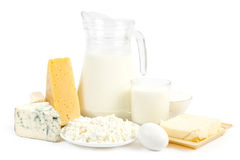 Dairy products. Isolated on white background Stock Photos