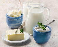 Dairy products. On a wooden table Royalty Free Stock Image