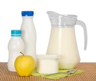 Dairy products, apple and napkin Royalty Free Stock Photo