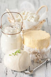 Dairy products. Assortment of fresh dairy products Royalty Free Stock Images