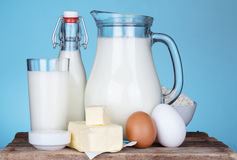 Dairy products assortment on old wooden table Stock Photo