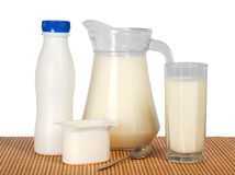 Dairy products on the bamboo cloth Stock Photography