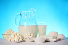 Dairy products on a blue background Stock Photography