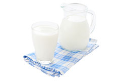 Dairy products on blue tablecloth on white background Stock Photography