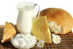 Dairy products and bread. Still-life with  bread and dairy products - cheese and milk Royalty Free Stock Image