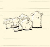 Dairy products with bread hand doodle illustration Stock Photos