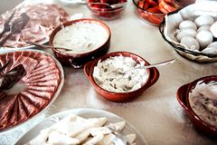 Dairy products for breakfast. Traditional albanian breakfast with fresh dairy products and ham Stock Image