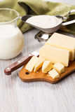 Dairy products - butter, milk, sour cream. Royalty Free Stock Photography