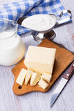 Dairy products - butter,  milk, sour cream. Stock Photography