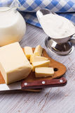 Dairy products - butter, sour cream, milk Stock Photo