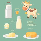 Dairy Products. Cartoon cow and collection of dairy product icons Stock Photo
