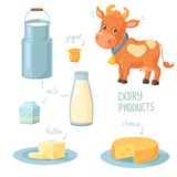 Dairy Products. Cartoon cow and collection of dairy product icons Stock Image