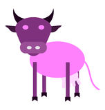 Dairy products. A cheerful purple cow vector illustration