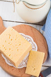 Dairy products - cheese, milk in pitcher Stock Photo