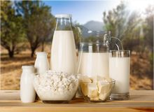Dairy products collection on blurred background royalty free stock photo