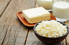 Dairy products. cottage cheese, butter, milk, cheese Stock Photo