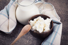 Dairy products - cottage cheese, milk. Stock Photography