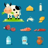 Dairy Products. Cute cartoon illustration of a cow and products we gain from her royalty free illustration