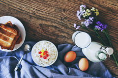 Dairy products on dark wooden table. Sour cream, milk, cheese, egg and Toasts. Top view with copy space.  royalty free stock photography