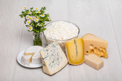 Dairy products. Different kinds of cheese on wooden background - cottage cheese, camambert, Parmigiano, Roquefort Royalty Free Stock Image