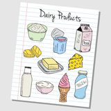 Dairy products doodles - lined paper Stock Photo