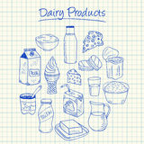 Dairy products doodles - squared paper. Illustration of dairy products ink doodles on squared paper Stock Images