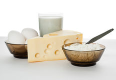 Dairy products and eggs isolated Stock Photos