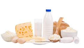 Dairy products. And eggs. isolated on a white background Stock Photo