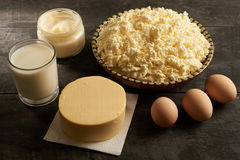 Dairy products and eggs are sources royalty free stock photography