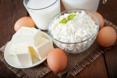 Dairy products and eggs Royalty Free Stock Photos