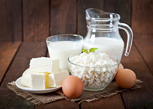 Dairy products and eggs Royalty Free Stock Images