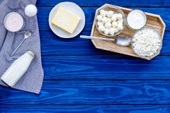 Dairy products from farm. Milk, cottage, cheese, yougurt on wooden top view mockup stock photography