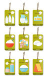 Dairy products flat set. Dairy products tags flat set. Vector illustration Royalty Free Stock Photography