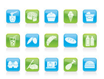Dairy Products - Food and Drink icons. Vector icon set Stock Photography