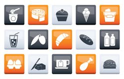 Dairy Products - Food and Drink icons over color background. Vector icon set stock illustration