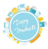 Dairy products frame. Flat style. Milk frames for text isolated on white background. Farm . Vector illustration. Dairy products frame. Flat style. Milk products Stock Photography