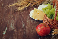 Dairy products and fruits. Symbols of jewish holiday - Shavuot Stock Images