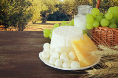 Dairy products and fruits. Symbols of jewish holiday - Shavuot Royalty Free Stock Image