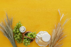 Dairy products and fruits. Symbols of jewish holiday - Shavuot Royalty Free Stock Photos