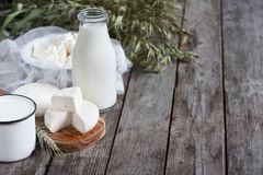 Dairy products and grains background Royalty Free Stock Photo